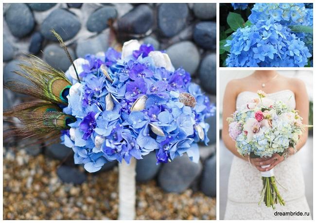 цветы для букетов фото и название: синяя и голубая гортензия