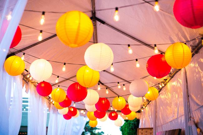 Бумажные фонарики подвесные для оформления праздника
