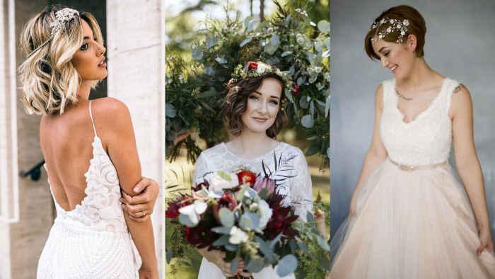 Свадебные прически на короткие волосы венок фата