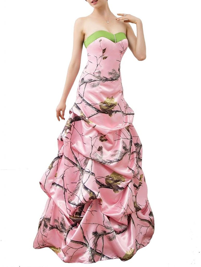 Розовые свадебные платья с камуфляжным принтом